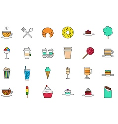 Cafeteria food colorful icons set vector image