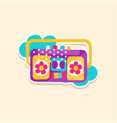 colorful boom box or radio cassette tape player vector image