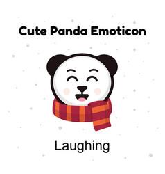 Cute cartoon emoticon baby panda laughing emoji vector