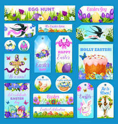 easter cards tags banners greeting set vector image