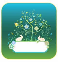 floral background with rabbits vector image