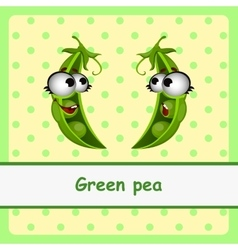 Green pea funny characters on yellow background vector image