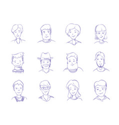 hand drawn people characters portrait avatars vector image vector image