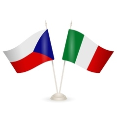 Table stand with flags of Italy and Czech Republic vector image