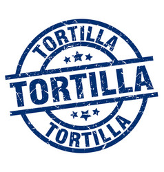tortilla blue round grunge stamp vector image