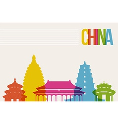 Travel China destination landmarks skyline vector image