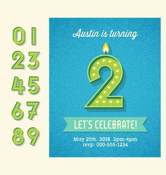 birthday invitation with 3d light bulb numbers vector image vector image