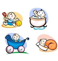 Little childs in cartoon style vector image vector image