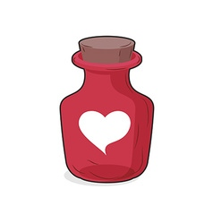 Magic red bottle of love potion Symbol of heart vector image