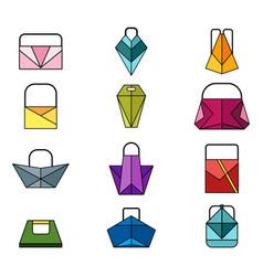 Set of color origami bag vector