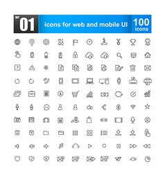 Simple line icons for web design and mobile ui vector image