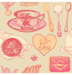Vintage Love Tea Pattern vector image vector image