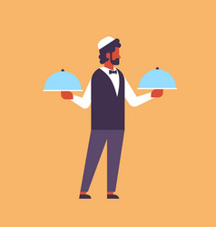 Arabic waiter hold covered plate tray lid service vector