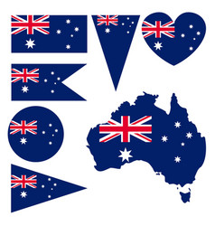 Australian national flag and map collection vector