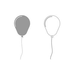 Balloon the grey set icon vector