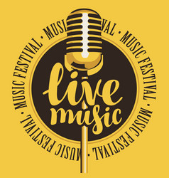 Banner for festival live music with microphone vector