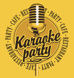 banner with microphone for karaoke party vector image