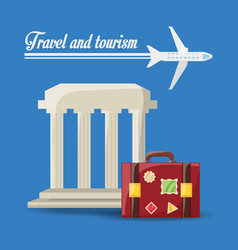 Beauty architecture with bag and airplane travel vector