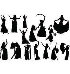 Belly dance silhouettes vector