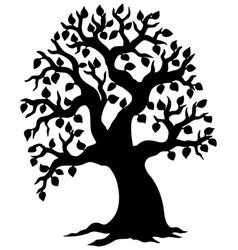 Big leafy tree silhouette vector
