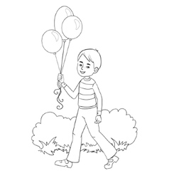Boy with balloons in hand vector image