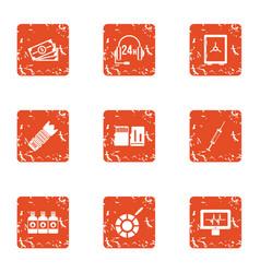 Business telephony icons set grunge style vector