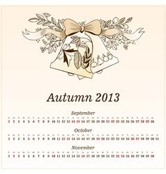 Calendar 2013 Autumn vector image