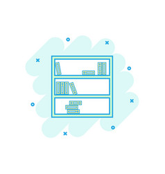 cartoon bookcase furniture icon in comic style vector image