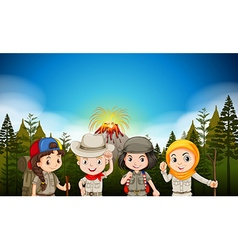 Children in hiking outfit by the volcano vector
