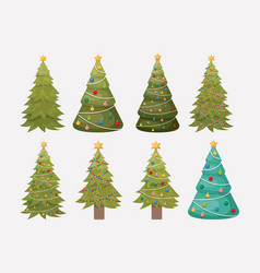 christmas pines trees set decoration vector image