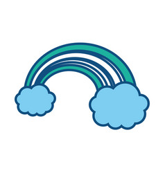 Clouds with rainbow icon vector