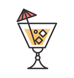 Cocktail icon glass beverage drink liquor alcohol vector