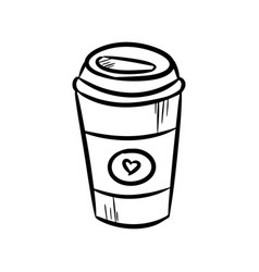 coffee cup hand-drawn doodle vector image