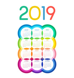 colorful 2019 calendar of multicolored circles vector image