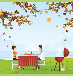 Couple grilling meat and picnic table under vector