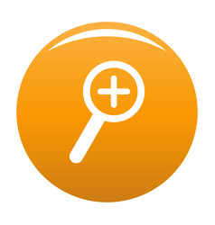cursor magnifier plus icon orange vector image