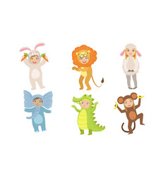 Cute happy kids dressed animal costumes set vector