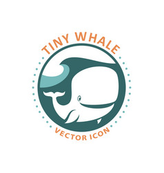 cute tiny whale cartoon character round icon vector image