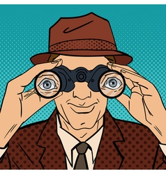 Detective with Binoculars Man in Hat Pop Art vector image