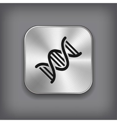 DNA icon - metal app button vector image
