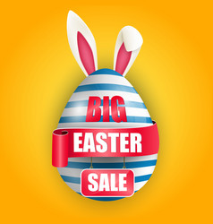 Easter egg bunnies ears with red ribbon and sale vector