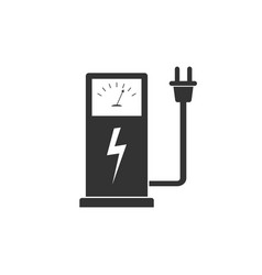 electric car charging station icon isolated flat vector image