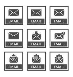 email icons set envelope signs in vector image