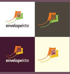Envelope kite logo and icon vector