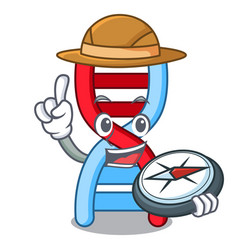 Explorer dna molecule mascot cartoon vector