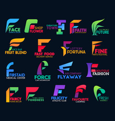 F letter corporate identity icons color design set vector