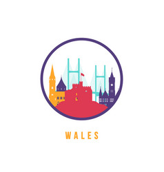 famous wales landmarks silhouette colorful vector image