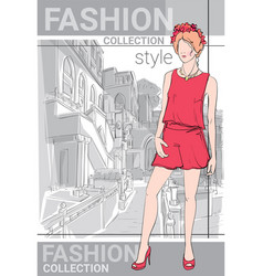 Fashion collection style model girl wear elegant vector
