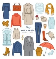 Fashionable Clothing Icon Set vector image