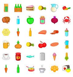 feeding icons set cartoon style vector image